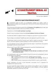 Dossier sur le harcèlement moral au travail - CGT Inra