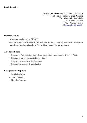 CV - Université de Picardie Jules Verne