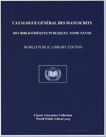 catalogue général des manuscrits des bibliothèques publiques de ...