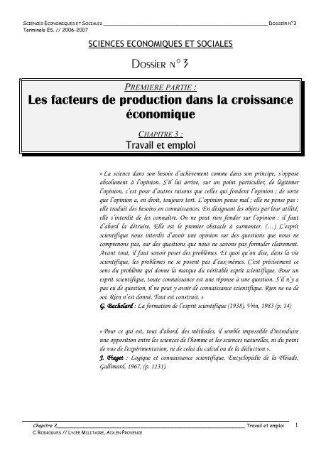 Dossier N 3 Les Facteurs De Production Dans La Croissance Iufm