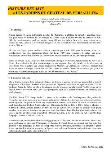 Histoire des arts t heine versailles lyc e fran ais - Effroyables jardins histoire des arts ...