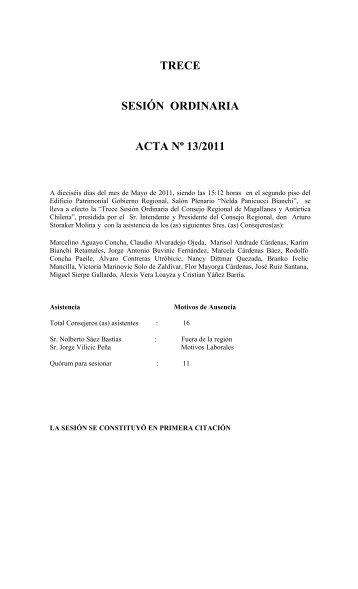 TRECE SESIÓN ORDINARIA ACTA Nº 13/2011