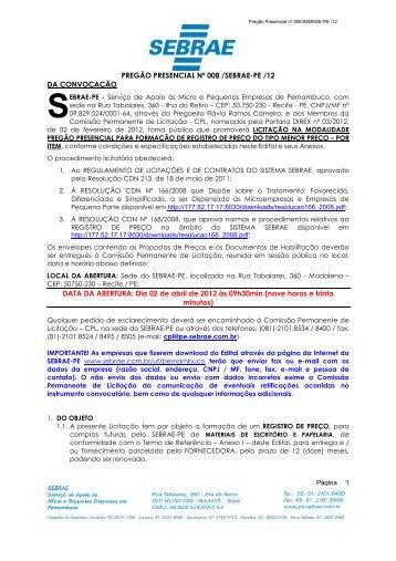 008-12 - RP MATERIAIS DE ESCRITRIO - Sebrae | Licitações