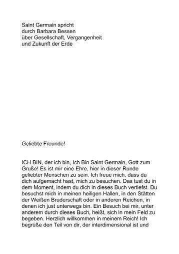 Saint Germain spricht durch Barbara Bessen über Gesellschaft ...