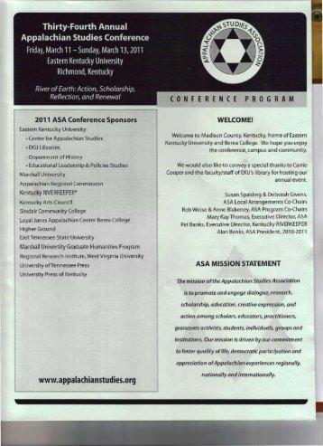 2011 Final Conference Program (pdf) - Appalachian Studies ...