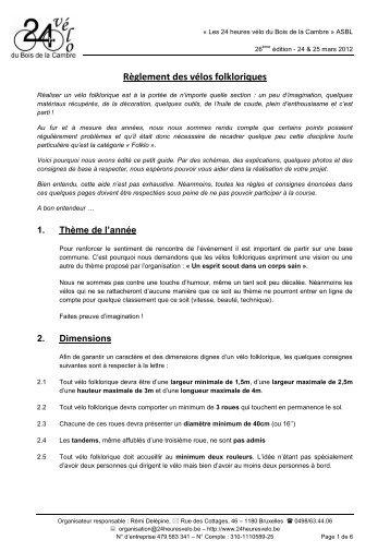 Règlement vélos folkloriques - 24 heures vélo du Bois de la Cambre