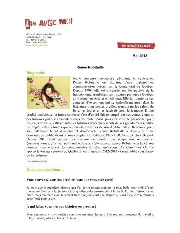 Mai 2012 Renée Robitaille Biographie Jeune ... - Lis avec moi