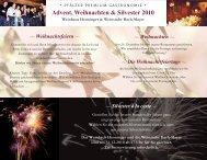 Advent, Weihnachten & Silvester 2010 - im Weinhaus Henninger