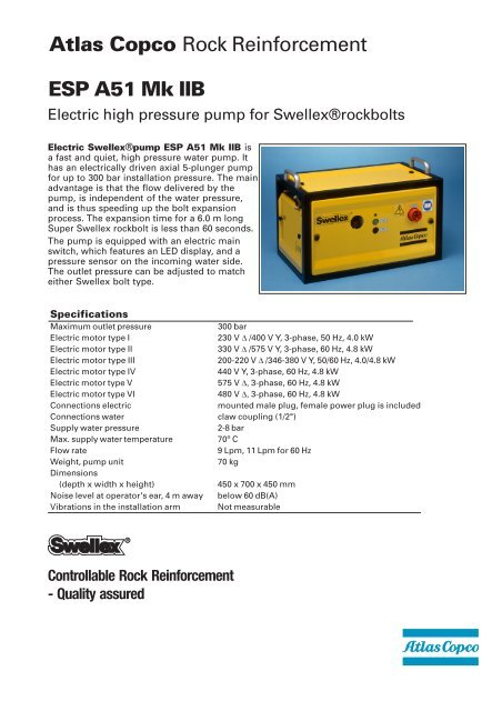 Swellex pump ESP A51 MKII b spec sheet - Atlas Copco
