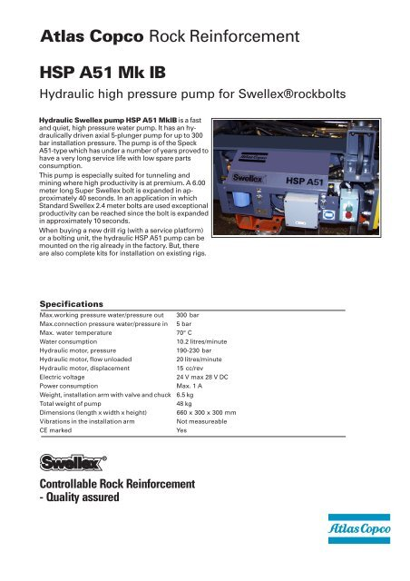 Swellex pumpHSP A51 Mk IB spec sheet - Atlas Copco