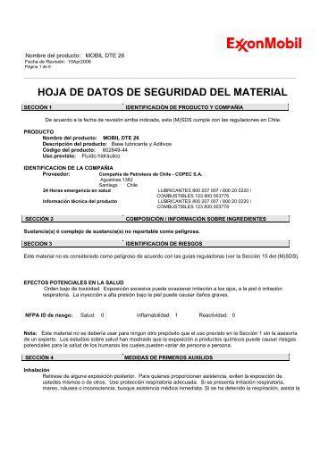 HOJA DE DATOS DE SEGURIDAD DEL MATERIAL