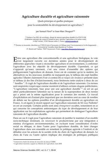 Article : « Agriculture durable et agriculture raisonnée - Arehn