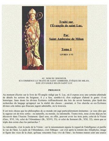 Traité sur l'Évangile de saint Luc, Tome 1 - La Porte Latine