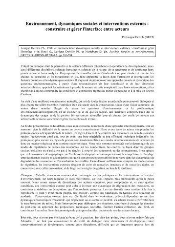 Environnement, dynamiques sociales et interventions externes ...