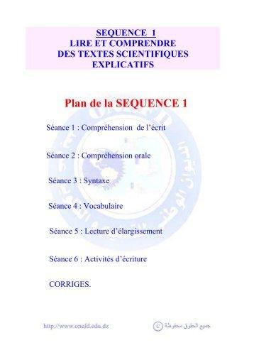 Plan de la SEQUENCE 1 - onefd