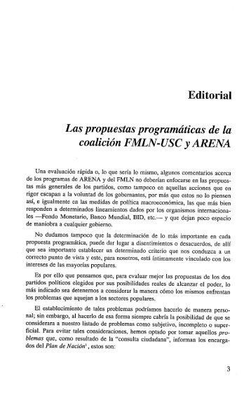 Las propuestas programáticas de la coalición FMLN-USC y ARENA