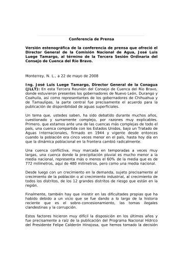 Conferencia de Prensa Versión estenográfica de la ... - Conagua