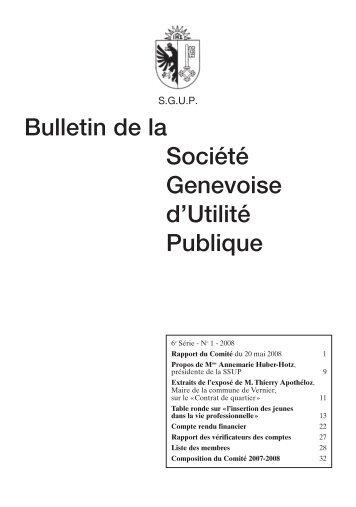 Bulletin de la Société Genevoise d'Utilité Publique