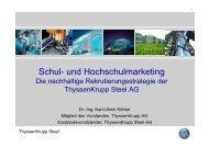 Schul- und Hochschulmarketing bei der ThyssenKrupp Steel AG