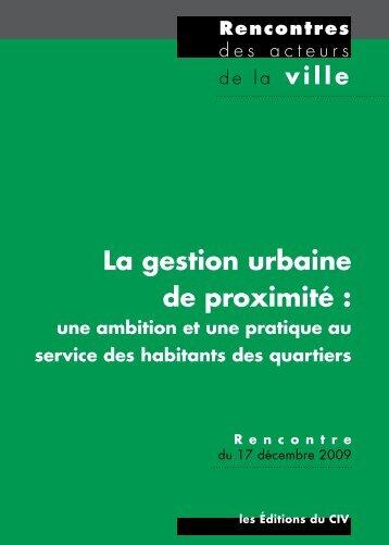 La gestion urbaine de proximité - Délégation interministérielle à la ville