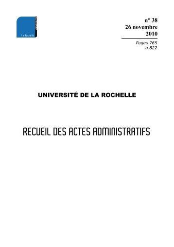 RAA - numéro 38 du 26 novembre 2010 - Université de La Rochelle