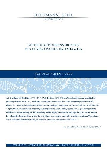 Die neue Gebührenstruktur Des europäischen ... - Hoffmann Eitle