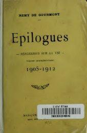 Epilogues, réflexions sur la vie