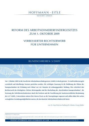 Reform des Arbeitnehmererfindergesetzes zum 1 ... - Hoffmann Eitle