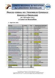 COMITE REGIONAL de NATATION du LANGUEDOC ROUSSILLON