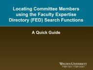Locating Committee Members using the Faculty Expertise Directory ...