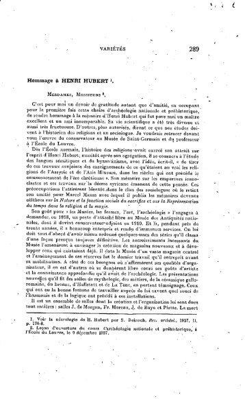 Hommage a Henri Hubert - Bibliothèque numérique de l'école ...