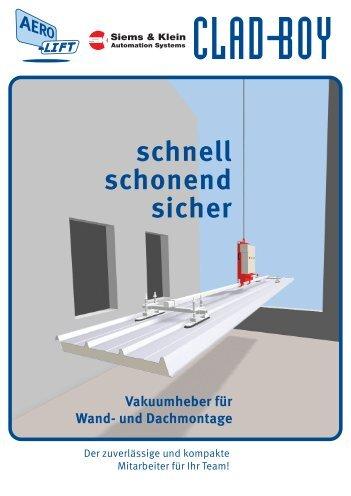 schnell schonend sicher Vakuumheber für Wand - Siems & Klein