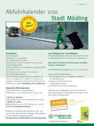 Abfuhrkalender 2011 Stadt Mödling