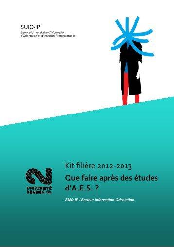 Que faire après des études d'AES - Université Rennes 2