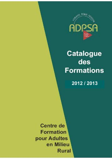 Catalogue des formations 2012-2013 - ADPSA Aveyron