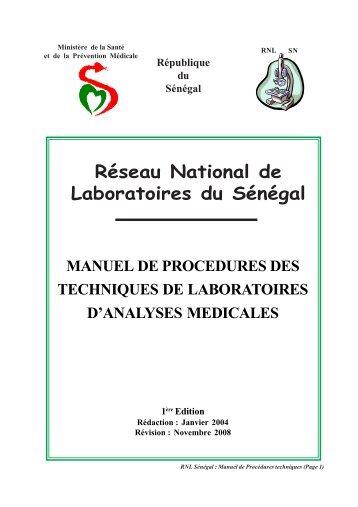 o Manuel de procédures techniques - Direction des laboratoires