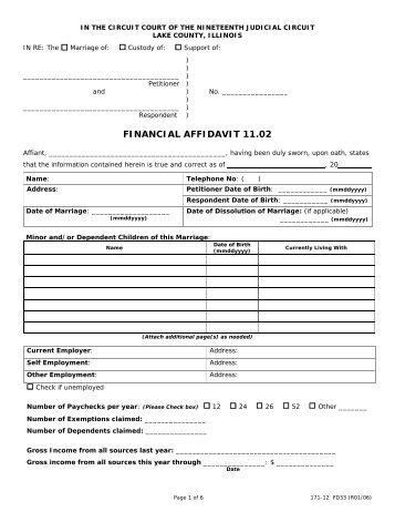 Family Law Financial Affidavit (Short Form) - Sixth Judicial Circuit