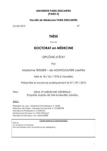 Thèse Deuil Médecine Générale - URPS médecins Ile-de-France