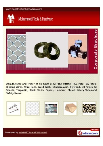 GI Pipe Fitting, RCC Pipe, MS Pipes, Binding Wires, Wire - Imimg