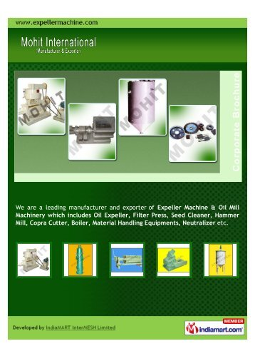 We are a leading manufacturer and exporter of Expeller ... - Imimg