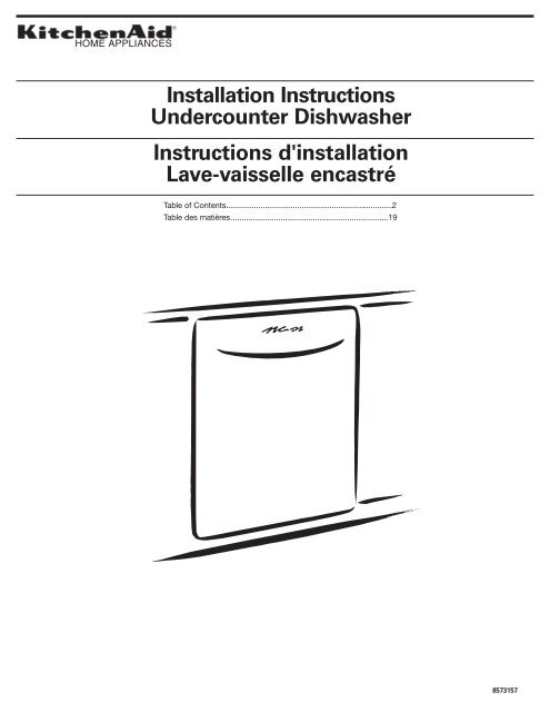 Instructions D Installation Lave Vaisselle Encastre Kitchenaid