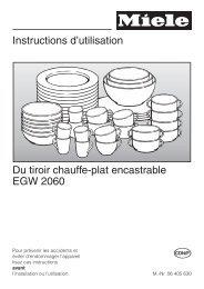 Instructions d'utilisation Du tiroir chauffe-plat encastrable ... - Miele