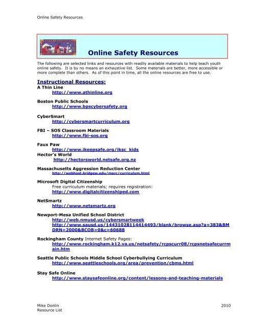 RESOURCES - Internet Safety Materials - List 2011 b pdf