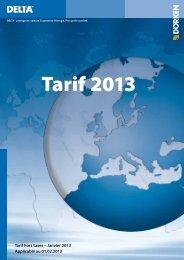 Tarif hors taxes – Janvier 2013 Applicable au 01.02.2013