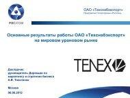 Основные результаты работы ОАО «Техснабэкспорт» на ...