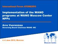 Implementation of the WANO Programs at the NPP of WANO ...