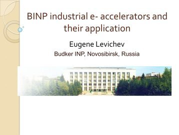 Development of Industrial Applications of Radiation Technologies ...