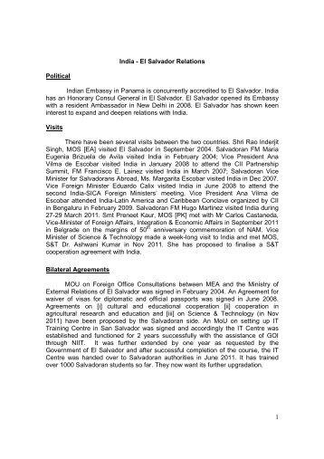 1 India - El Salvador Relations Political Indian Embassy in Panama ...