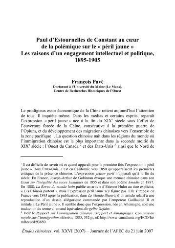 Paul d'Estournelles de Constant et le péril jaune - AFEC