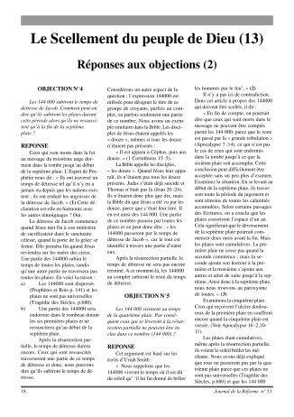 Le Scellement du peuple de Dieu (13) - Journal de la Réforme